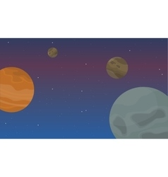 Planet in space landscape collection vector image