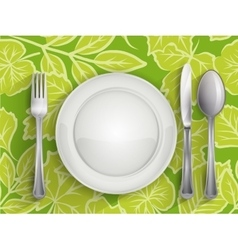 Plate spoon knife and fork vector image