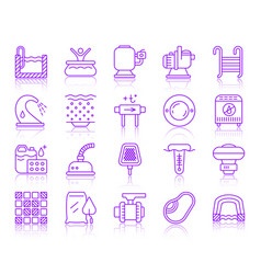 Pool equipment simple color line icons set vector