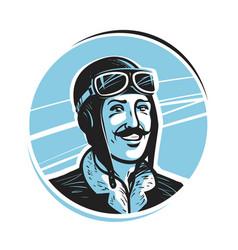 Portrait happy pilot in cap aviator airman vector