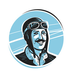portrait of happy pilot in cap aviator airman vector image