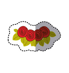 Red rounds roses with leaves icon vector
