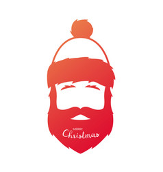 red silhouette of santa claus on a white vector image