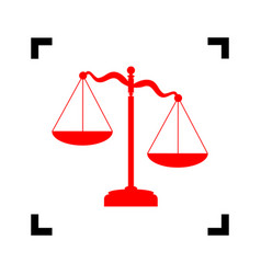 scales of justice sign red icon inside vector image