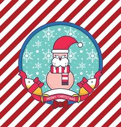 Sea lion christmas greeting card vector