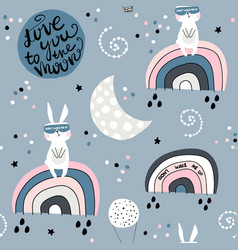 seamless childish pattern with slepping rabbits on vector image