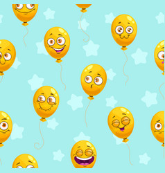 seamless pattern with funny cartoon yellow vector image