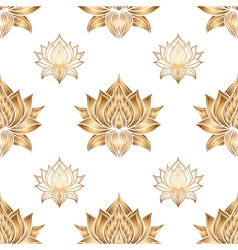 Seamless pattern with lotus flowers hand drawn vector