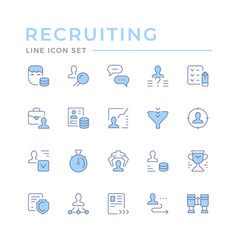Set color line icons recruiting vector