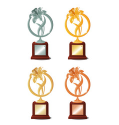 set four awards for winning contest or vector image