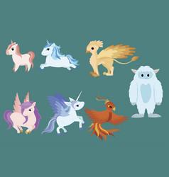 Set mythical animals collection cartoon vector