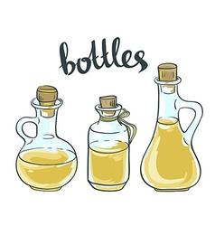 Set of Olive or Sunflower Oil Glass Bottles vector image