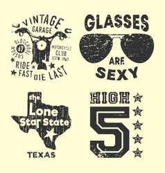 set various vintage t-shirt print stamp for t vector image