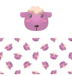 Sheep Head Icon And Pattern vector