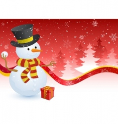 Snowman with a gift box vector