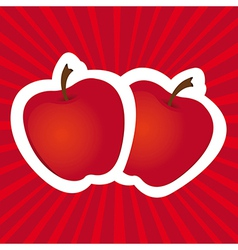 stickers apple red lines background vector image