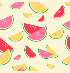 summer red pink and yellow watermelons seamless vector image