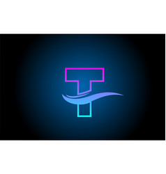 T blue and pink alphabet letter logo icon for vector