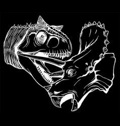 t rex versus triceratops silhouette vector image