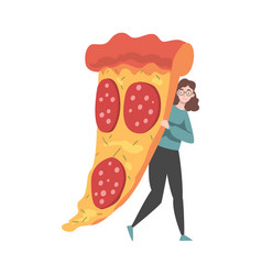 Tiny woman with huge slice pizza vector