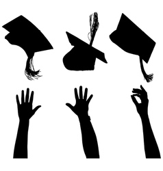 Tossing mortarboard silhouette vector