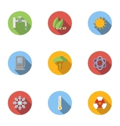 Types of energy icons set flat style vector image