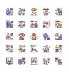 usa rgb color icons set vector image