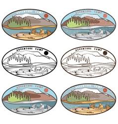 Vintage labels set of adventure camp vector