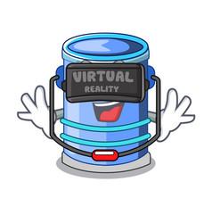 virtual reality cylinder bucket with handle on vector image