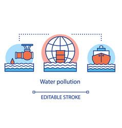 Water pollution concept icon ocean waste vector