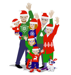 waving christmas family vector image