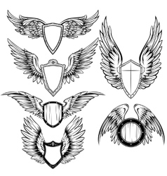 Wings And Shield Heraldic Elements Set vector