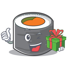 with gift sushi cartoon character style vector image