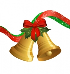 Christmas bells with holly vector image vector image