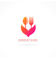 fork and spoon beautiful logo vector image vector image