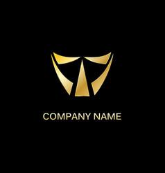 gold shape triangle company logo vector image