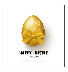 Happy easter background with realistic golden egg vector