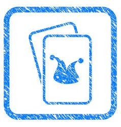Joker gaming cards framed grunge icon vector