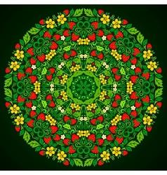 Ornate strawberries round pattern vector image