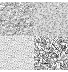 Set of four black and white wave patterns Black vector image