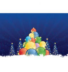 winter tree decorations vector image