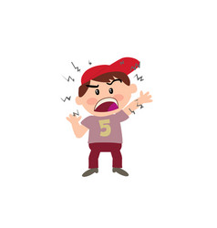 cartoon character of a angry white boy with red ca vector image