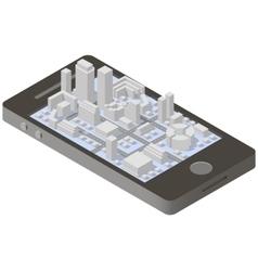 City plan isometric on smartphone vector image