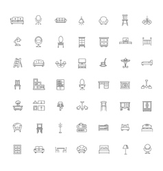 Furniture and home decor icon set vector image