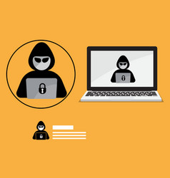 Hacker logo with laptop background vector