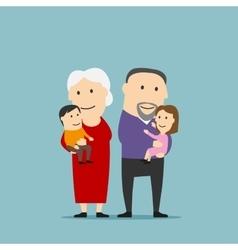 Happy grandparents family with grandchildren vector image