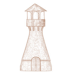 lighthouse hand drawn sketch vector image vector image