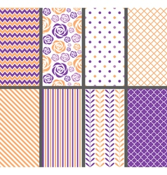 Orange And Purple Seamless Patterns vector image vector image