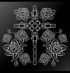 Roses and cross silhouettes vector