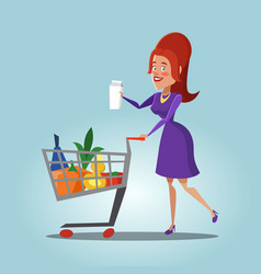 woman with shopping basket full of fresh products vector image